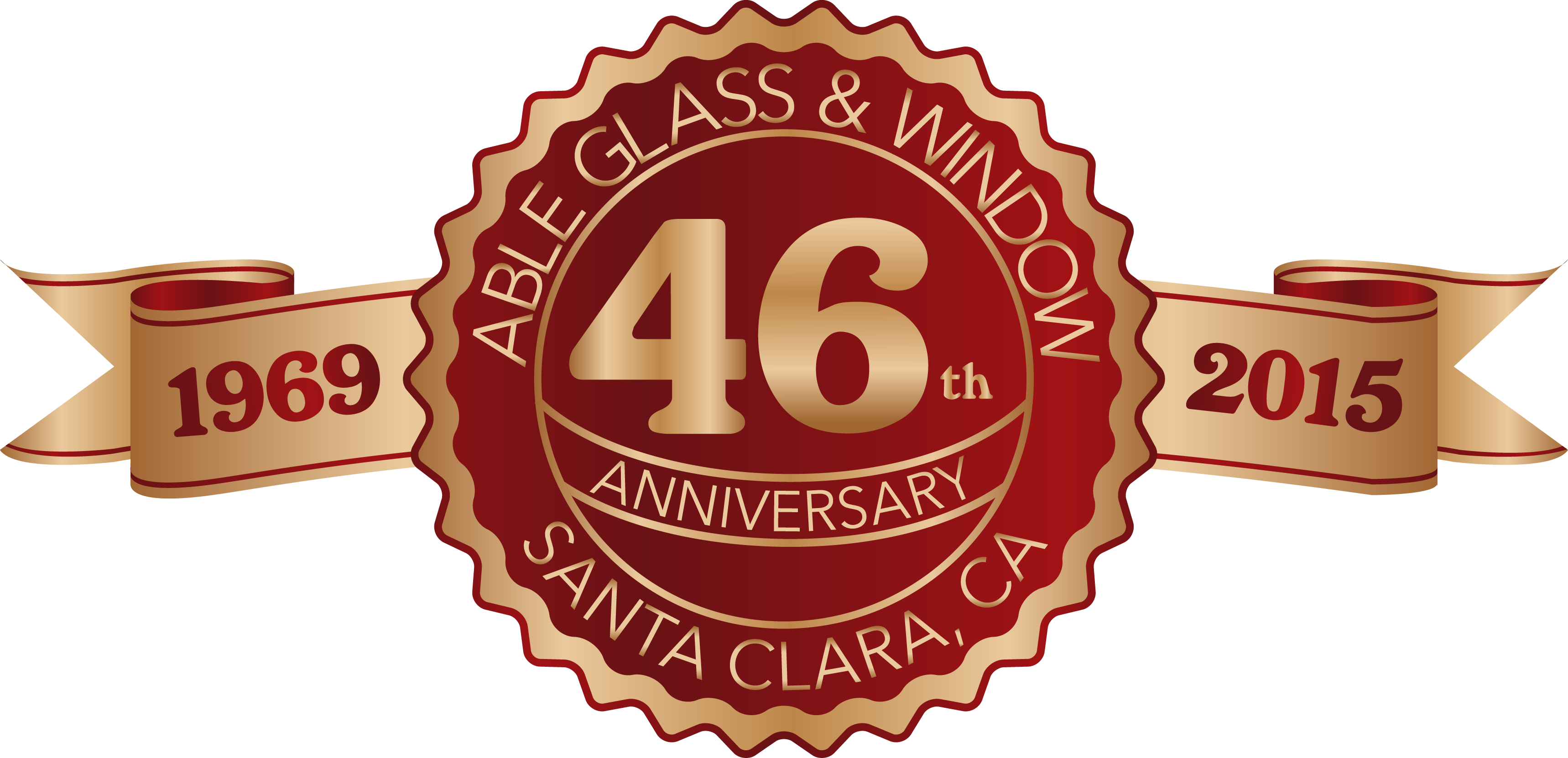 46th year anniversary label in red and gold