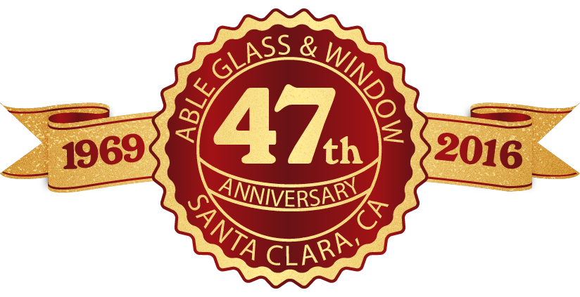 47th year anniversary label in red and gold